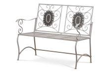 Zahradní lavice, keramická mozaika, kovová konstrukce, šedý matný lak Antik (typově ke stolu JF2228 a židli JF2229), JF2230