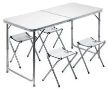 Cattara Stůl kemping DOUBLE teleskop. šedý + 4x židlička 13488