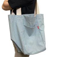 Aesthetic Taška lněná L s kapsou - Blue