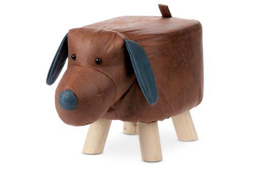 Taburet - pes, potah hnědá látka v dekoru vintage kůže, masivní nohy z kaučukovníku v přírodním  odstínu, LA2011