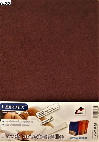 VERATEX Froté prostěradlo jednolůžko 90x200/16cm (č.33-hnědá)
