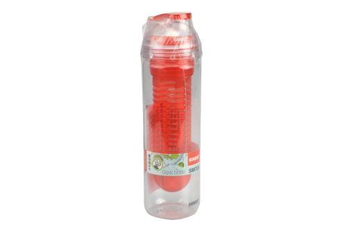 Plastová láhev s filtrem na kousky ovoce BANQUET 500ml - Červená (23x6cm) - 8591022383728