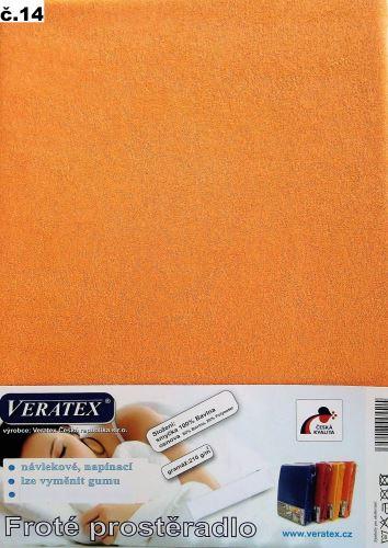 VERATEX Froté prostěradlo dvoulůžko 180x200/16cm (č.14 broskvová)
