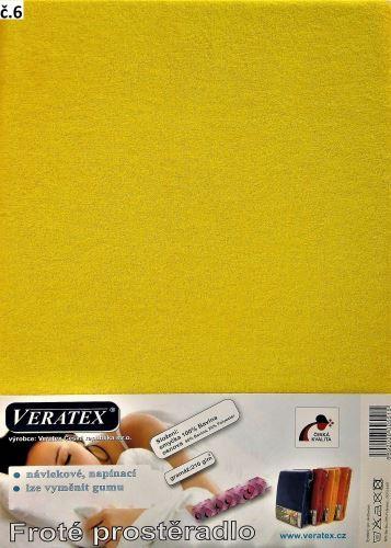 VERATEX Froté prostěradlo  90x210 cm (č. 6-stř.žlutá)