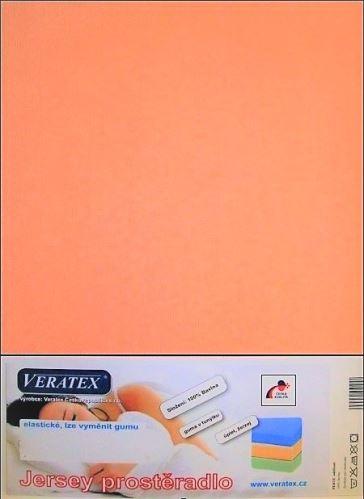 VERATEX Jersey prostěradlo  jednolůžko 90x200/15 cm (č.11-lososová)