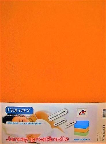 VERATEX Jersey prostěradlo  jednolůžko 90x200/15 cm (č.23-oranžová)