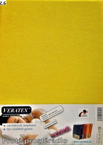 VERATEX Froté prostěradlo  90x220cm (č. 6-stř.žlutá)