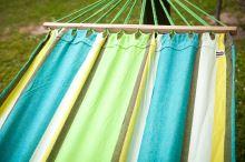 DIMENZA zahradní látková houpací síť s výztuhou v mnoha barevných provedeních Barva: zelená s pruhy - DF-003267