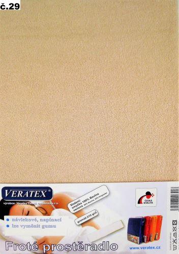 VERATEX Froté prostěradlo dvoulůžko 180x200/16cm (č.29-béžová)