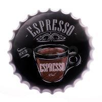 Obraz plechový 40 cm víčko - Espresso (8719987010583)