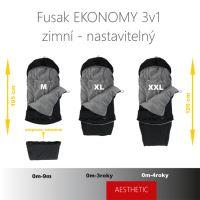 Aesthetic Fusak EKONOMY 3v1 nastavitelný - Klasik - šedá - růžová