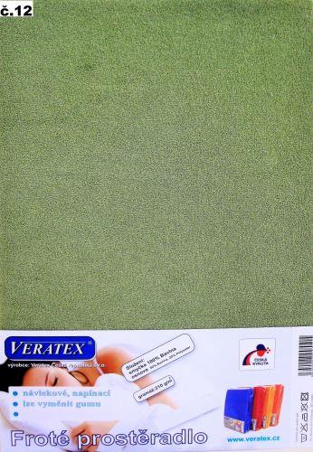 VERATEX Froté prostěradlo 200x220 cm (č.12-stř.zelená)