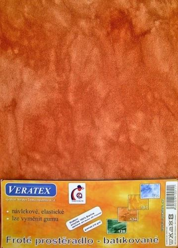 VERATEX Froté prostěradlo na masážní lůžko 60x190 lehátko batikované sv.rezavá batika