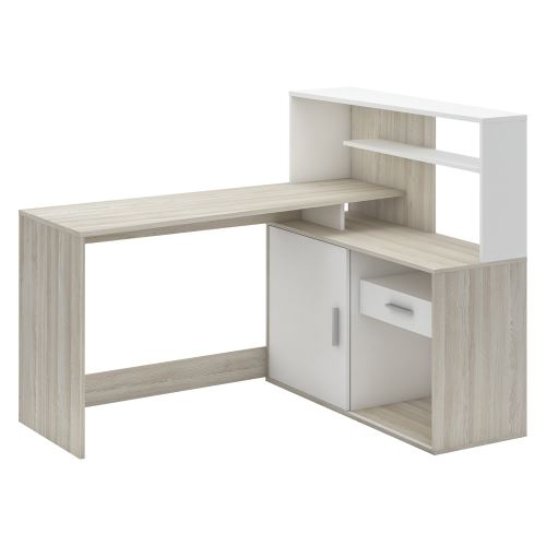 Psací stůl rohový BRICE dub/perleťově bílá IDEA nábytek