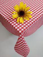 VERATEX Bavlněný ubrus tkaný 120x140cm kanafas červené srdíčko