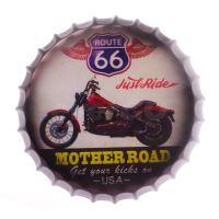 Obraz plechový 42 cm víčko - Route 66