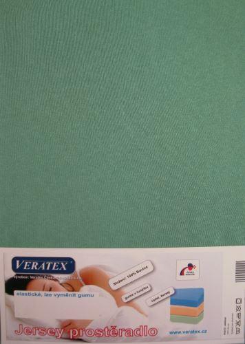 VERATEX Jersey prostěradlo jednolůžko 90x200/25 cm (č.28-tm.zelená)