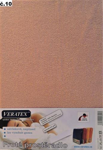VERATEX Froté prostěradlo dvoulůžko 180x200/16cm (č.10-starorůžová)