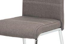 Jídelní židle, potah coffee látka, bílé prošití, kovová čtyřnohá chromovaná podnož, HC-485 COF2