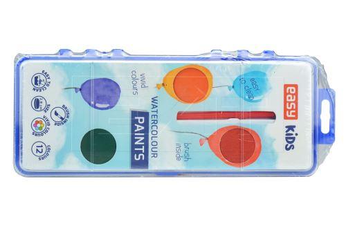 Vodové barvy (2.8cm) se štětcem EASY KIDS - Set 12 barev - 5905339485106