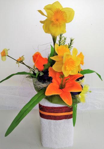 VERATEX Veratex Textilní dekorace váza s květinami