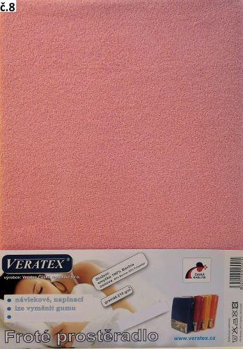 VERATEX Froté prostěradlo 200x200/16cm (č. 8-růžová)