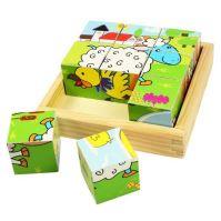 Bigjigs Toys Obrázkové kostky kubusy Zvířátka 9 kostek (691621195369)