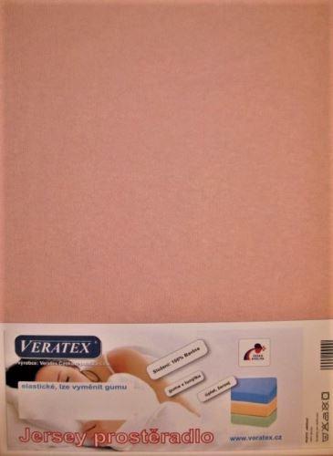 VERATEX Jersey prostěradlo  jednolůžko 90x200/15 cm (č.10-starorůžová) SKLADEM POSLEDNÍ 8KS