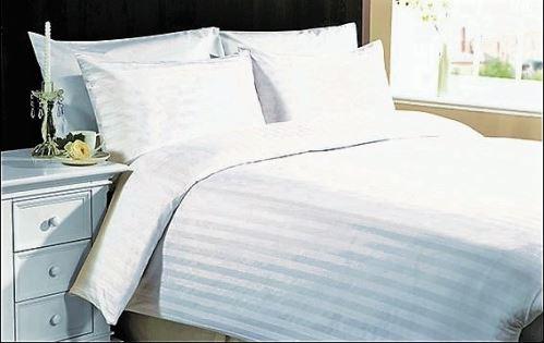 VERATEX Damaškové povlečení atlasgrádl 70x90-140x200 proužek bílý 2 cm 95°C