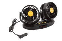 Ventilátor MITCHELL DUO 2x130mm 24V na palubní desku s teploměrem 07225
