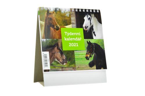 Týdenní kalendář 2021 (16x14cm) - Koně - 8594170074470