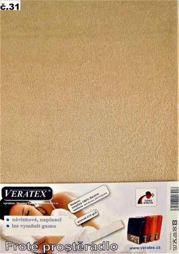 VERATEX Froté prostěradlo 100x200/16 cm (č.31-sv.hnědá)