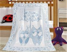 VERATEX Dětská bavlněná deka 100x140 cm sova modrá