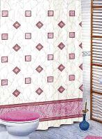VERATEX Koupelnový závěs 180x200 cm (růžové čtverce)