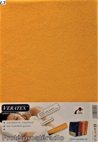 VERATEX Froté prostěradlo dvoulůžko 180x200/16cm (č. 7-sytě žlutá)
