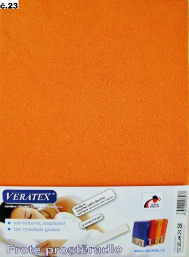 VERATEX Froté prostěradlo 200x200/16cm (č.23-oranžová)