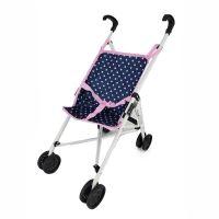Golfový kočárek pro panenky modro/růžový s puntíky (8590687201156)