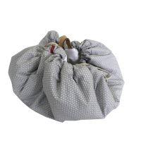 Aesthetic Hnízdo pro miminka 3v1, stahovací vak na hračky, Hrací kruhová podložka  plátno/plátno (herbs šedá/bílá)