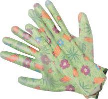 Flo Rukavice zahradní zelené s květinami vel. 8 TO-74127