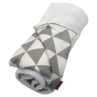 Aesthetic Deka celoroční oboustranná - triangel šedá - bílá / bílá mikroplyš Rozměr: 100 x 140 cm