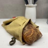 Aesthetic Lněný vak na chleba / sáček na pečivo s koženým poutkem -100% len, gramáž 245g/m2 - Sand Rozměr: 45x55 cm