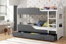FALCO Patrová postel Domino 90x200 bílá/grafit - 0317021202