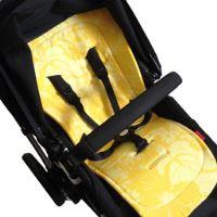 Aesthetic Podložka do kočárku oboustranná s bambusovou výplní - HAWAI - žlutý květ len / smetanová bavlna