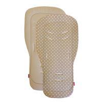 Aesthetic Podložka DO KOČÁRKU oboustranná s bambusovou výplní  - Puntík bílý na béžové plátno/ béžová bavlna