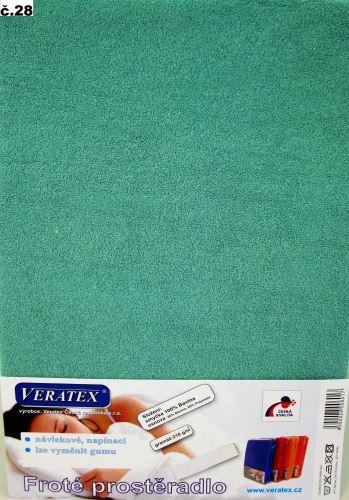 VERATEX Froté prostěradlo  90x220cm (č.28-tm.zelená)