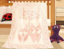 VERATEX Dětská bavlněná deka 100x140 cm sova růžová