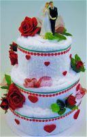 VERATEX Veratex Textilní dort - třípatrový červená růže