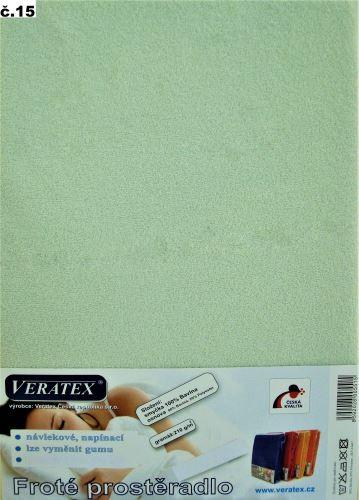 VERATEX Froté prostěradlo dvoulůžko 180x200/20cm (č.15 sv.zelená)