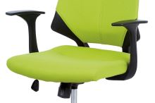 Juniorská kancelářská židle, potah zelenožlutá látka, černý plast, houpací mechanismus, KA-R204 GRN