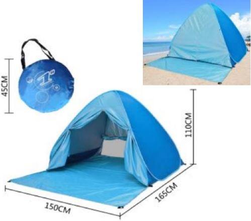 Plážový stan samorozkládací - samostavěcí s uzaviratelným vstupem vel. 150 - postavený za pár vteřin